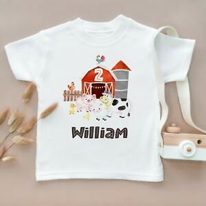 Personalised 2nd Birthday Toddler T Shirt Children Kids Gift Two Farm Animals