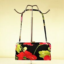 East Small Silk Chinese Style Floral Print Handbag Clutch Bag Wedding Black Pink