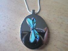 STAINLESS STEEL DRAGONFLY URN NECKLACE - MOURNING, ASHES, LOCK OF HAIR, 3