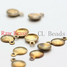 140pcs Raw Brass Charm - Round Disc with Loop 6x8mm (1868C-U-71)