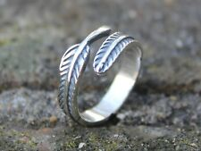 Adjustable womens 925 silver feather leaf ring Top finger knuckle stacking ring
