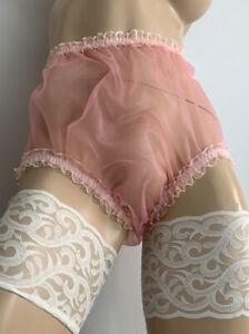 Vtg Semi Sheer 20 Denier Stabilised Nylon Mesh ~ Full Cut Sissy Panties PINK