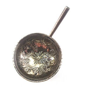 Antique English Georgian Period Repousse Silver Punch Toddy Ladle, 18th-19th C.