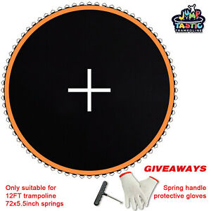 """12ft Trampoline Mat 127"""" Jumping Surface with 72 V-Ring Replacement Spring Spare"""