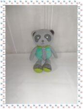 ◘ - Doudou Peluche Ours Panda Gris Vert Cravate Grelot  Okaidi Obaibi