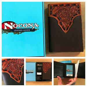 New Nocona mens tooled buck stitch tri fold wallet