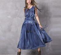 Womens Denim Jeans Sleeveless Full Length Western Cowboy Tassels Dresses Fashion
