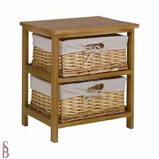2 Basket Wooden Storage Unit - Brown - BNIP - supplied built, not flat-packed
