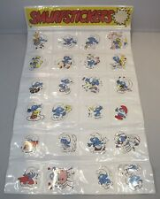 Vintage 1970s Complete Peyo Trade Pack Display of Smurf Stickers 24 Designs