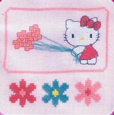 Kitty Con Flores Hello Kitty Custo Cross Stitch Kit de DMC utilizando residuos De Lona
