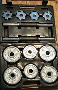 vintage york dumbbell 30 lb barbell system chrome disc's weights original case