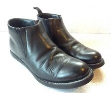 Prada Black Leather Dress Ankle Boots Men's Size 8.5 Round Toe Made In Italy