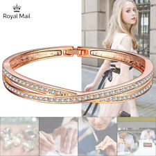 Rose Gold Crossover Bracelet Embellished Crystal Made With Swarovski Element UK