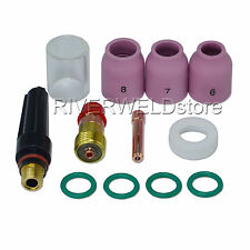 "TIG Stubby Gas Lens 17GL332 3/32"" & #10 Pyrex Cup WP 17 TIG Alumina Nozzle 12PCS"