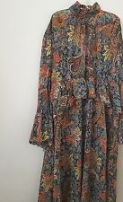 ZARA FLORAL/PAISLEY PRINTED LONG  MIDI MAXI FLOWING DRESS WITH FRILL SIZE XS-S