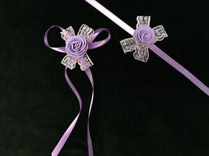Brautjungfern Blumen Armband Satin Bändchen Lila Mor Nedime Bilekligi Hochzeit