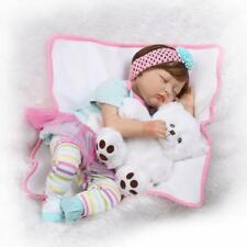 22''55cm Reborn Baby Dolls Soft Silicone Lifelike Baby With A Bear Xmas Gift