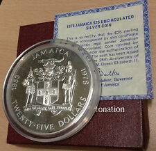 JAMAICA 1978 SILVER BU UNC 4OZ $25 25TH ANNIV OF THE CORONATION OF ELIZABETH II