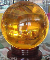 80mm Yellow Magic Crystal Rare Natural Quartz  Healing Ball Sphere  + 1 Stand