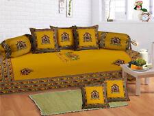 100 % Cotton Yellow Sofa Diwan Set Diwan Cover Cushion Covers Bolster Covers