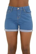 Ladies Womens Blue Hotpants High Waisted Stretch Hot Pant Shorts Size 6 8 12 14 UK 6