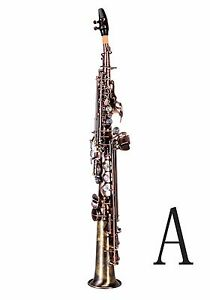 100% New Professional Bb antiqued Red Brass Soprano Saxophone With Case