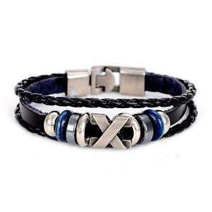 LEATHER BRACELET Metal and Resin Beads X Charm with Clasp Fastener Black Blue