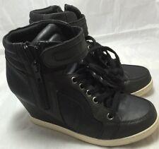 Candie's Women Black Wedge Loop Fasteners Zipper Laces High Top Sneakers Sz 5.5M
