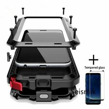 Tempered glass Full Protective Luxury Armor Metal Samsung Case Shockproof Cover