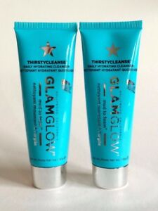 "LOT OF 2 X GLAMGLOW ""THIRSTYCLEANSE"" MUD-TO-FOAM 1 oz / Large Travel-Size NEW"