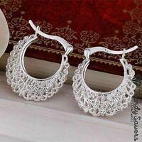 Vintage Hippie Women's 925 Sterling Silver Filled Small Hoop Earrings  #9