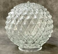 "6"" Crystal Clear Diamond Point Cut Glass 3"" Fitter Sawtooth Light Globe Vintage"
