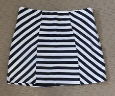 DOTTI Size 10 Black & White Striped Cotton/Elastane Fully Lined Woven Skirt