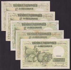 Belgium 1944/1947- Lot of 5 Circulated Banknotes CINQUANTE 50 FRANCS.......X2596