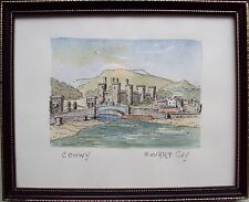 EWART GUY WELSH ARTIST ORIGINAL PEN AND WATERCOLOUR PAINTING OF CONWAY CASTLE