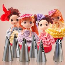 7pcs Russian Stainless Icing Piping Nozzles For Barbie Cake Decor + Converter