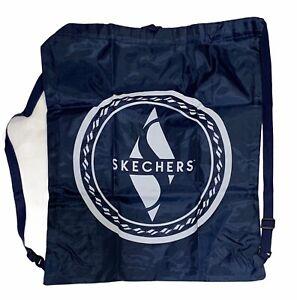 Lot of 2 - Skechers Nylon Drawstring Bag Backpack Gym Bag Navy Blue Phone Stand