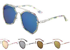 Wholesale 12 Pair Floral Print Aviator Sunglasses with Color Mirror Lens