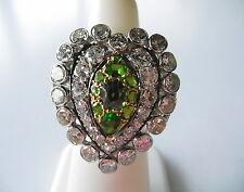 Vintage Platinum Tsavorite garnets 2.60tcw diamonds Lady's ring sze 4.5 I-5800