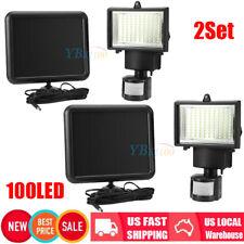 2Pack 100 SMD LEDs Solar Powered Motion Sensor Security Light Flood Garden Lamp