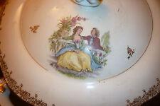ancienne SOUPIERE décors WATTEAU porcelaine de limoges J-V authentique JV