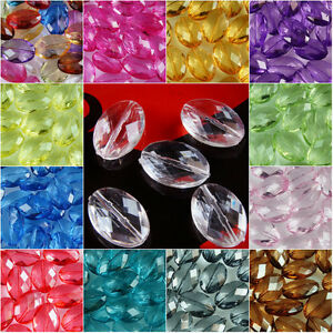 40 x LARGE~OVAL~FACETED~TRANSPARENT~ACRYLIC BEADS~CHOOSE COLOUR,19 x 13 MM