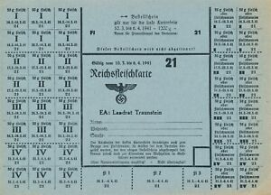 Stamp Germany Revenue Sheet WWII 1941 FI 21 Food Ration Meat MNH