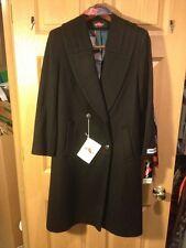 Vtg Womens Demi Petite Black Wool Winter Coat Size 8 w/ Matching Scarf
