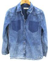 Blank NYC Womens Deconstructed Distressed Denim Long Sleeve Shirt Size Medium