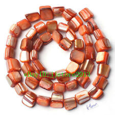 "6-8mm Natural Orange Shell MOP Freeform Shape Gemstone Loose Beads Strand 15"""