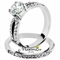 Stainless Steel 1.25 Ct Round Cut AAA CZ Wedding Ring Band Set Women's Size 5-10