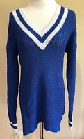 Women's Blue Hooked Up V Neck Long Sleeve Tennis Sweater Small
