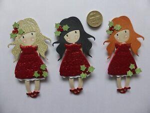 6 Little red glitter Christmas Holly Girls sweet handmade card toppers children