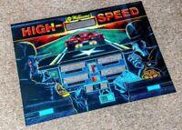 Williams High Speed Pinball Machine Next Gen Translite backglass